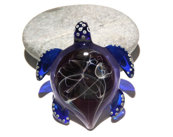 Black Violet Turtle - Glass Pendant - Glass Jewelry - Rare Necklace - Heady Turtle - Blown Glass - Limited & Artist Signed - Free Shipping!