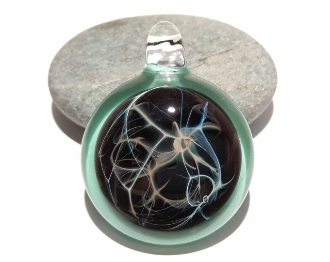 Sacred Waters Pendant - Glass Necklace - Hand Blown Glass Jewelry - Original Design - Universe Filament -  Pure Fine Silver