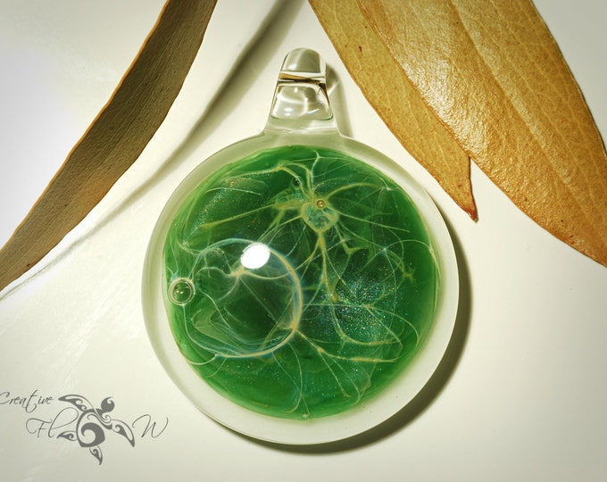 Glass Pendant - Sacred Spruce Pendant - Glass Nacklace - Glass Art - Unique Bead - Blown Glass Jewelry - Boro Pendant - Universe Filament