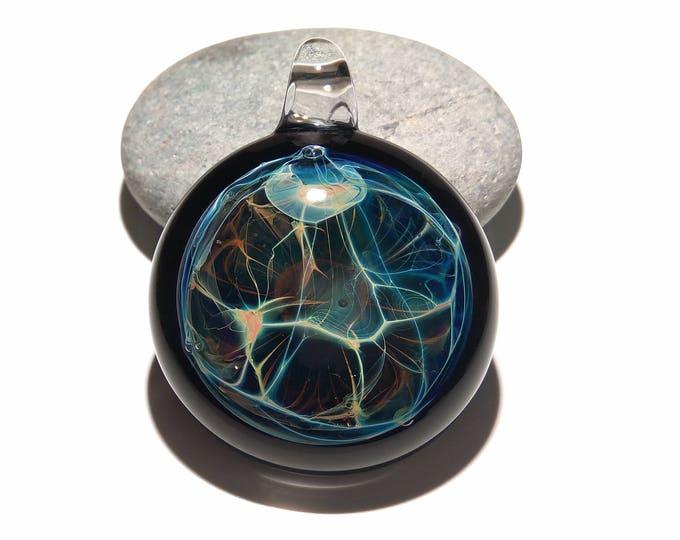 Glass Pendant - Aquatic Nova Pendant - Glass Art - Unique Bead - Blown Glass Jewelry - Boro Pendant - Universe Filament -  Pure Fine Silver