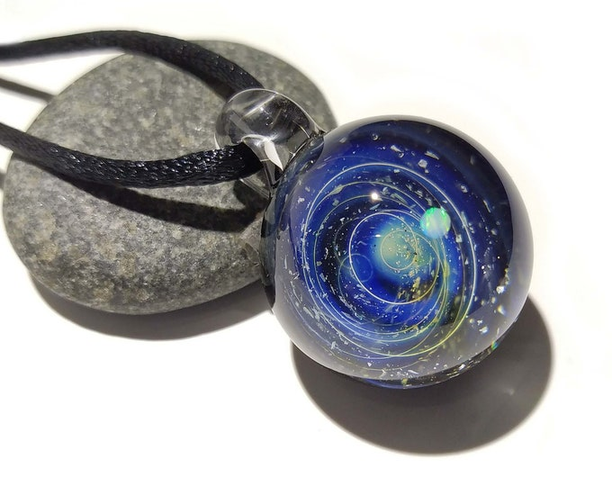 Glass Galaxy Pendant, With A white Opal Planet - Blue Solar System, Cosmic Gift Idea, Unique Space Gift, Universe in Glass, Handmade Glass