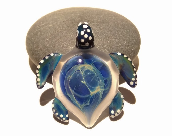 Rain Spirit Turtle Pendant - Glass Pendant - Glass Jewelry - Glass Art - Turtle - Blown Glass - Artist Signed - Details of Pure Silver