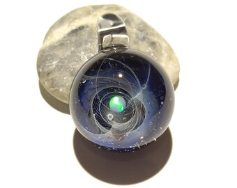 Space Glass Pendant - Solar Sun Space Scene - Astronomy Gift  - Space Jewelry - Necklace - Mini Galaxy - Heady Space Pendant - Opal Gift