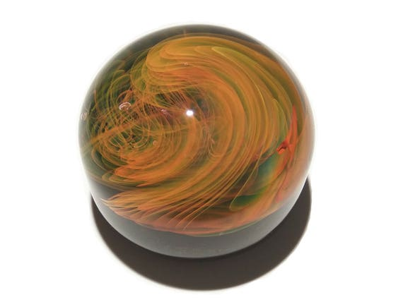 Paperweight - Golden Flame - Glass Art - Infinity - Blown Glass - Home Decor - Handmade Gift - Ornaments - Desk Gift Ideas - Borosilicate