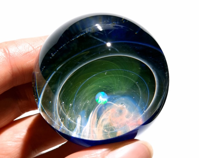 Cosmic Space Ball - Glass Art - White Fire Opal Planet - Galaxy - Universe - Blown Glass - Decor - Handmade Gift - Night Sky - Stars