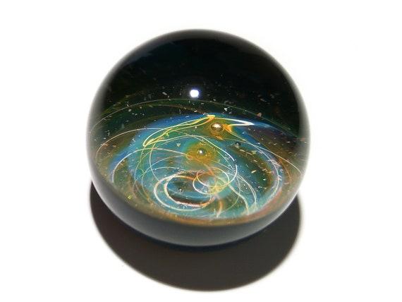 Paperweight - Glass Art - Blue Stars - Galaxy - Universe - Blown Glass - Home Decor - Handmade Gift - Borosilicate - Gift for Him