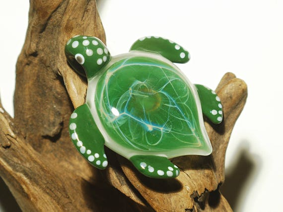 Green Sea Turtle Pendant - Blown Glass Turtle - Sea Lovers Gift - Moss Green with Fine Details - Artist Direct - Art Glass - Handmade Gift