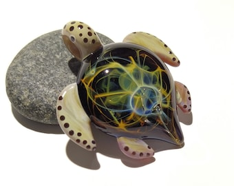 Rainbow Nebula, Glass Turtle Pendant. Collectors Gift - Turtle Figurine - Blown Glass Jewelry - Space, Neuron, Cosmic Galaxy Turtle