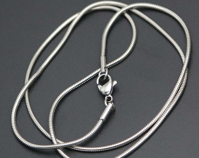 1.2mm Stainless Steel Snake/Rope Chain, High Quality 316 Stainless, Womens Chain, Chain for Glass Jewelry, hypoallergenic, Tarnish Free