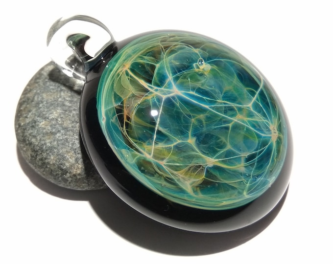 Mystical Space Pendant - Glass Pendant - Handcrafted Glass Necklace - Unique Glass Jewelry - Deatils of Pure SIlver - Free Shipping!