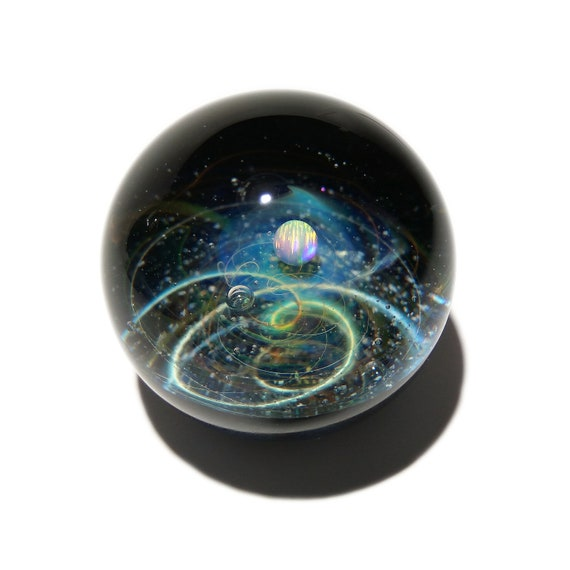 NEW! Paperweight - Glass Art - White Ice Opal Planet - Galaxy - Universe - Blown Glass - Decor - Handmade Gift - Borosilicate - Gift for Her