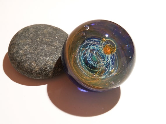 Paperweight - Glass Art - Aurora Solar System - Galaxy - Universe - Blown Glass - Home Decor - Handmade Gift - Borosilicate - Gift - Science