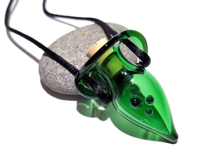 HandBlown Vessel Lampwork Pendant Necklace Made from Boro/Borosilicate Glass - Miniature Bottle pendant - Tiny Treasure - Handmade Glass