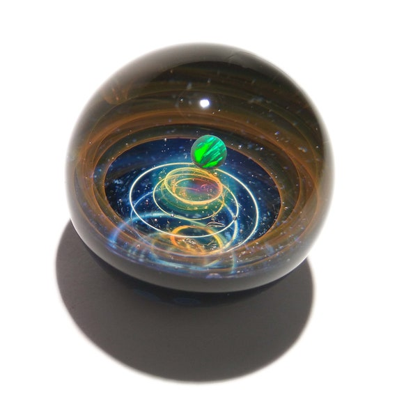 NEW! Paperweight/Marble - Black Opal - Glass Art - Galaxy - Universe - Blown Glass - Decor - Handmade Gift - One Of A Kind - Artist Signed
