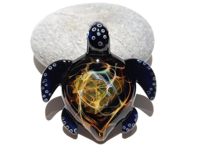 Glass Pendant - Aquatic Gem Turtle - Sea Glass Jewelry - Glass Art - Turtle - Blown Glass - Artist Signed - Details of Pure Silver