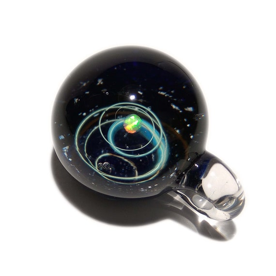 NEW! Blown Glass Pendant - Dark Opal Planet - Space -Neurology Gift - Trending Art - Science Jewelry - Best Seller - Necklace -Neuroscience