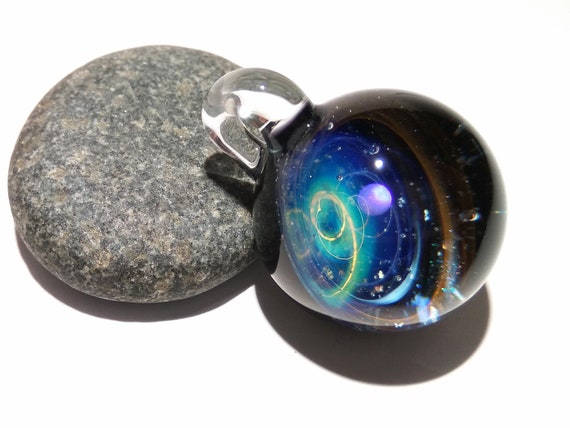NEW! Blown Glass Pendant -Infinite Stars -Opal -Space -Neurology Gift -Trending Art -Science Jewelry -Best Seller -Necklace -Neuroscience