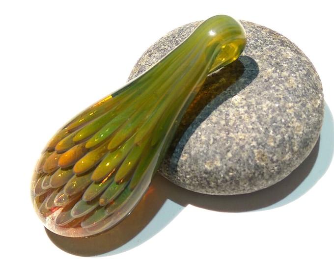 Glass Necklace Pendant - Handmade Jewelry - Blown Glass - Dragon Flower - Jade Green - Teardrop - Gold Shimmer - Art