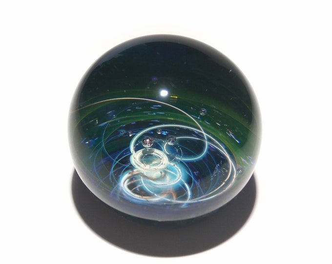 Paperweight - Emerald Galaxy Glass - Universe - Blown Glass - Home Decor - Gift for Him - Art - Borosilicate - Science Gift