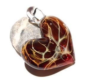 Valentine Glass Heart - Garnet Red - Heart Pendant - Gift for Her - Glass Jewelry - Glass Art - Blown Glass - Heart Charm - Love -Friendship