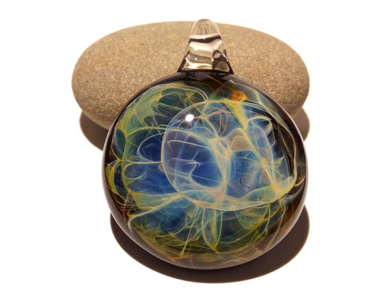 Peaceful Halo Pendant - Blown Glass Jewelry - Universe - Flameworked Focal Bead - Free Shipping - Artist Direct - Vibrant and glossy smooth!
