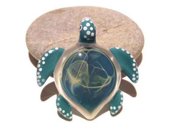 Star Galaxy Turtle Pendant - Glass Pendant - Glass Jewelry - Glass Art - Turtle - Blown Glass - Artist Signed - Details of Pure Silver