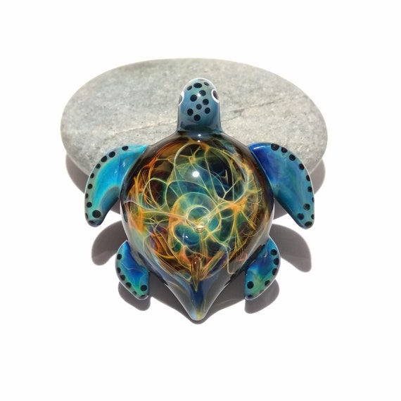 Turtle Jewelry Gift - A Blown Glass Pendant - Sea Turtle Necklace - Handmade Borosilicate Glass Jewelry - A nature lover gift!