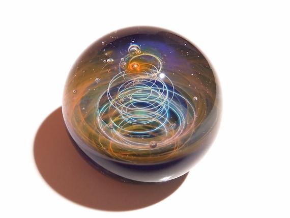 Paperweight - Glass Art - Aurora Solar System - Galaxy - Universe - Blown Glass - Home Decor - Handmade Gift - Borosilicate - Gift - Science