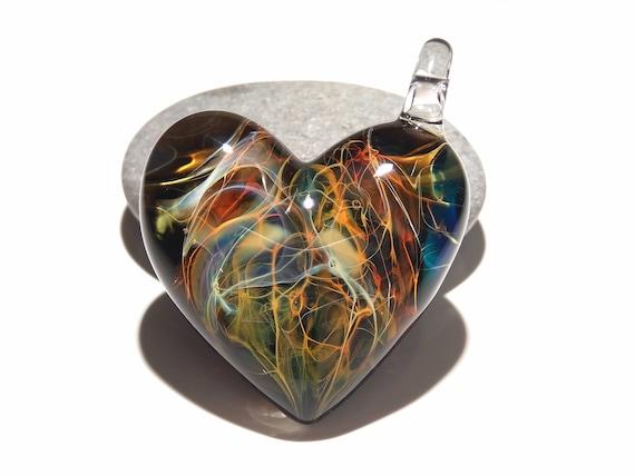 Heart Pendant - Nova Universe Heart - Glass Jewelry - Glass Art - Blown Glass - Love Pendant - Unique Art Bead - Made with Pure Silver
