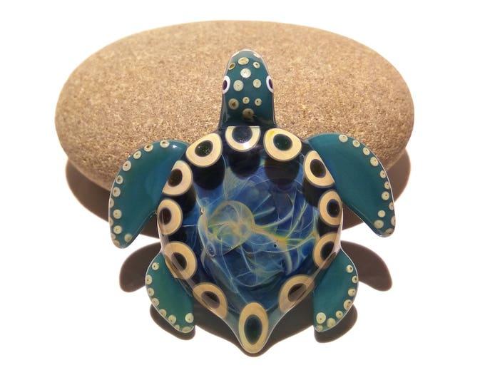 Turtle Necklace - Tribal Ocean Turtle - Handmade Glass Pendant - Silver Patterns - Porthole Turtle - Universe Glass Art Bead