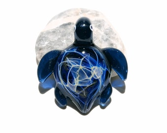 Glass Turtle - Baby Midnight Starburst Turtle Pendant - Glass Pendant - Glass Jewelry - Blown Glass - Artist Signed - Details of Silver