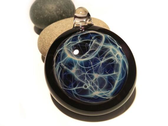 Aquatic Universe Pendant - Neuron Universe Filament Pattern - Hand Blown Glass Pendant - Glass Jewelry - Pure Silver - Free Shipping!