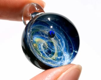 Space Glass Pendant - Black Planet Space Scene - Astronomy Gift  - Space Jewelry - Necklace - Mini Galaxy - Heady Space Pendant - Opal Gift