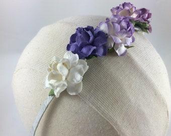 Paper Flower Crown Headband- Purple White Band