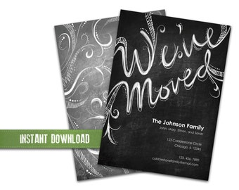 We've Moved Announcement Card - Chalkboard - Hand Lettered Script - Swirls - Printable - DIY - 5x7