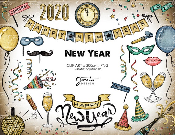 2020 new year clipart set ball drop countdown champagne etsy etsy