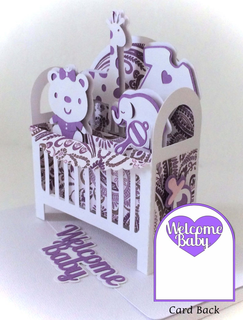 Baby Crib Card In A Box 3D SVG image 0