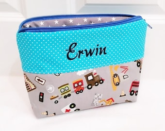 Toiletry bags, vehicles, personalized gift, boys