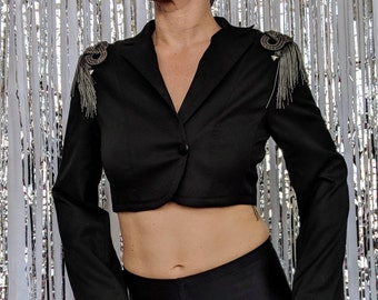 abe7b10d4a5 womens black cropped Blazer with silver metallic and Fringe epaulettes and  beaded back - dance
