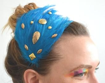 turquoise blue & metallic gold feather headband