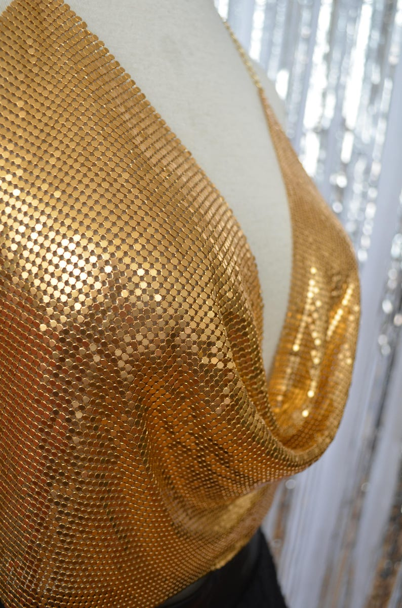 burning man one size Small Medium Large metal chain link cloth costume Metallic gold mesh halter crop top w chain strap and waist