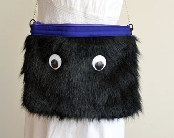 burner bag - friendly monster purse in black faux fur