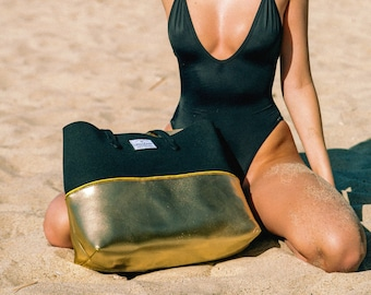 FREE SHIPPING, Gold Digger neoprene beach bag, travel pouch and tote bag with purse, summer bag, tote bag, vegan fashion