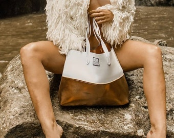 FREE SHIPPING, SALE Copper Toned neoprene beach bag, travel pouch and tote bag with purse, summer bag, tote bag, vegan fashion
