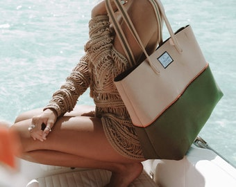 FREE SHIPPING, SALE Olive Stoned neoprene beach bag, travel pouch and tote bag with purse, summer bag, tote bag, vegan fashion