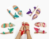 Leather Sandals, sandals, Women Greek sandals Ermes winged, Customised colours.