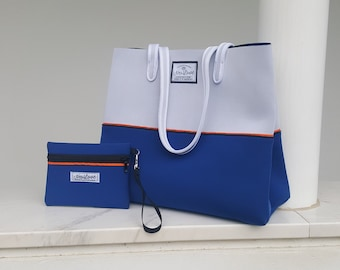 FREE SHIPPING, Greek Island neoprene beach bag, travel pouch and tote bag with purse, summer bag, tote bag, vegan fashion