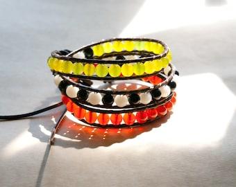 Onyx, Peridot & Carnelian Gemstone Leather Wrap Bracelet