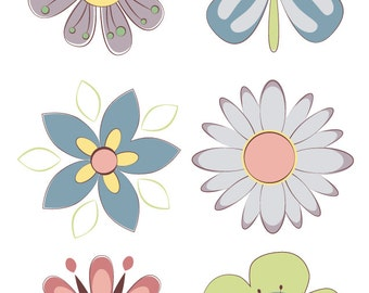 Retro Atomic Pastel Flower Illustration Collection (Digital Download)