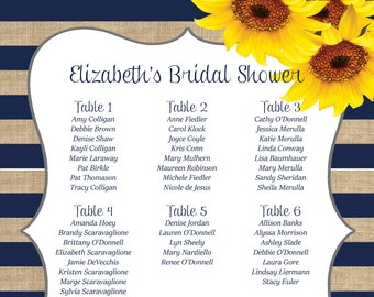 Sunflower Stripe Seating Chart!  - PRINTABLE